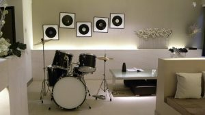 an example of a finished basement for music lovers